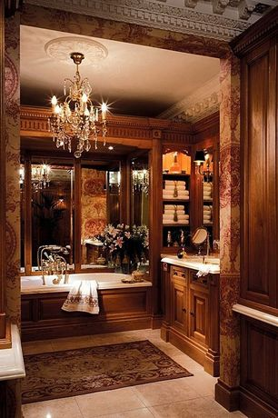 Traditional Master Bathroom with Inset cabinets, Bathtub, Chandelier, Raised panel, Crown molding, Undermount sink
