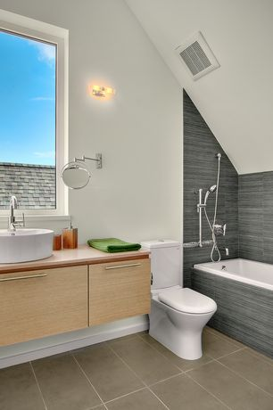 Contemporary Full Bathroom with Metro gris 12 in. x 24 in. glazed porcelain wall tile, tiled wall showerbath, Vessel sink