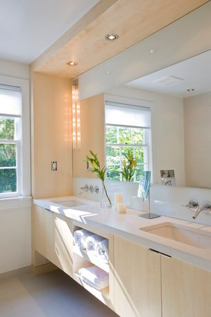 Modern Full Bathroom with Stone source, celador, engineered stone, white, Flush, Double sink, European Cabinets