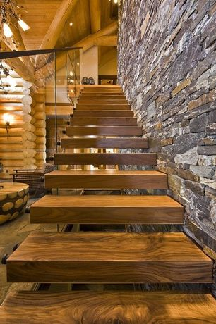 Contemporary Staircase with Floating staircase, Hardwood floors, Honey Ledge Thin Veneer, Chandelier, Exposed beam