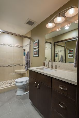 Contemporary 3/4 Bathroom with Flush, Simple granite counters, European Cabinets, Arizona tile cebu aqua porcelain tile