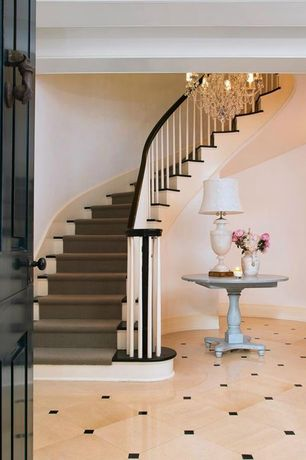 Traditional Entryway with High ceiling, Chesapeake Round Table, sandstone tile floors, Chandelier