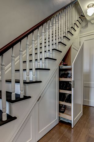 Traditional Staircase with Custom shoe rack, Pull out storage, Paint