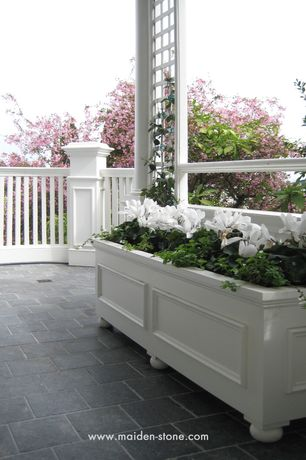 Traditional Porch with Belgian blue limestone floor, Planter box