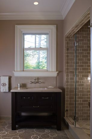 Traditional Full Bathroom with Console sink, Crown molding, Full Bath, Limestone counters, double-hung window, can lights