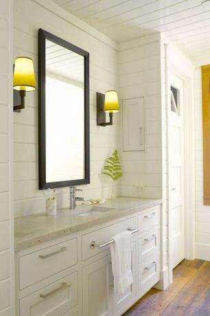Contemporary Full Bathroom with Martha stewart living larsson cove mirror, Sonneman sottile wall sconce, Inset cabinets