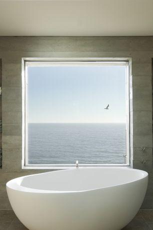 Contemporary Master Bathroom with Freestanding, Master bathroom, slate tile floors