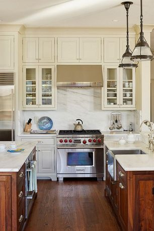 Craftsman Kitchen with Carrera bianco honed 16x16 floor and wall marble tile, gas range, European Cabinets, Kitchen island