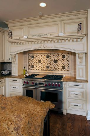 Traditional Kitchen with Raised panel, Cabot Mosaic Tile - Glass Stone Blends Caramel Cream, Inset cabinets, Custom hood