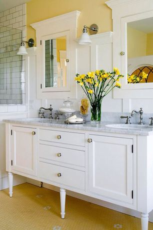 Traditional Master Bathroom with Flat panel cabinets, Complex Marble, Console sink, Built-in bookshelf, frameless showerdoor