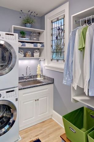 Traditional Laundry Room with Target - room essentials medium storage bin green, Undermount sink, Paint, Built-in bookshelf
