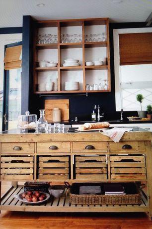 Rustic Kitchen with Kitchen island, One-wall, Quartz countertops, Flat panel cabinets, Shaker style cabinets, Lattice window