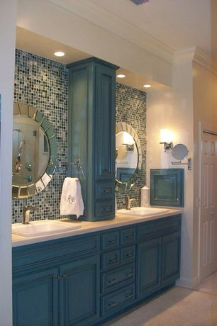 Eclectic Master Bathroom with Paint 2, Wall sconce, Limestone counters, Inset cabinets, Shower, full backsplash, Raised panel