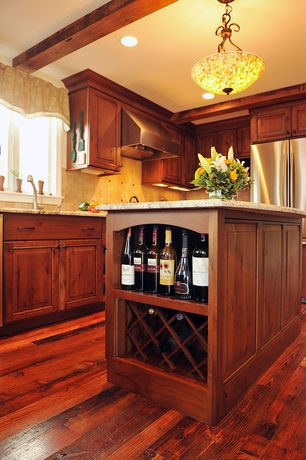 Craftsman Kitchen with Framed Partial Panel, European Cabinets, can lights, Simple granite counters, flush light, Wall Hood