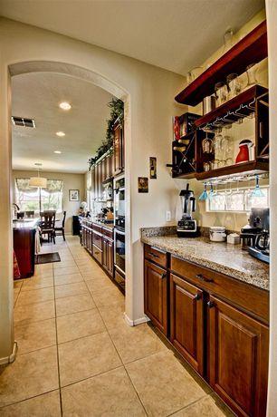 Contemporary Bar with Built-in bookshelf, sandstone tile floors, Dry bar, High ceiling, stone tile floors