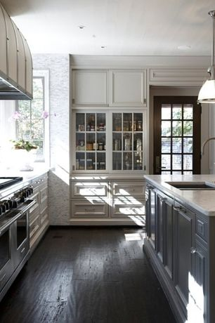 Traditional Kitchen with Pendant light, Glass panel, Undermount sink, Inset cabinets, Hardwood floors, French doors, L-shaped