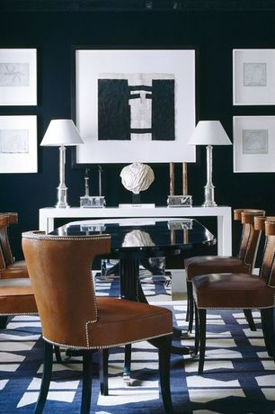 Contemporary Dining Room with Carpet, Beresford Table Lamp by EF Chapman, Arch Console Table by Sunpan Modern