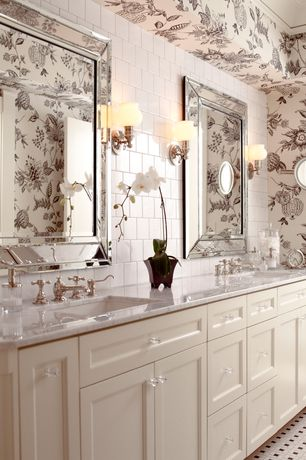 Traditional Master Bathroom with Wall Tiles, interior wallpaper, full backsplash, Complex marble counters, Subway Tile, Flush