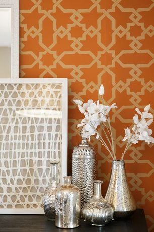 "Contemporary Living Room with Sterling SIlver 925 Beautiful 9"" Bottle Vase, Lawson Bay Lattice Trellis - Spice Orange"