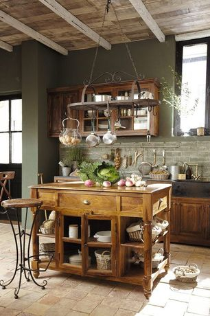Country Kitchen with limestone tile floors, Glass panel, Stone Tile, Raised panel, Inset cabinets, Breakfast bar, One-wall