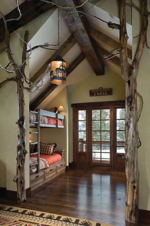 Rustic Kids Bedroom with Pendant light, Columns, Exposed beam, Restoration Hardware Haven Twin-over-Twin Bunk Bed, Bunk beds