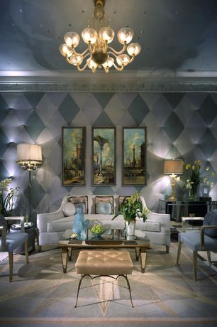 Art Deco Living Room with Oval Louis XVI Back Armchair, Chandelier, Crown molding, interior wallpaper, Tufted Wallpaper