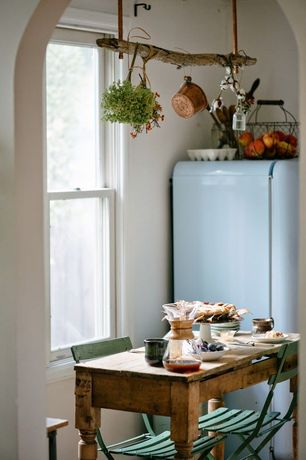 Country Kitchen with Matt Blatt Replica Arc En Ciel Bistro Chair, Smeg 50's Retro Style Aestetic Refrigerator, Paint
