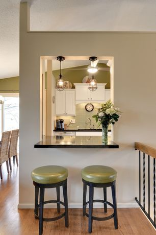 Cottage Kitchen with Ms international - black galaxy, Restoration Hardware Marconi Caged Pendant Aged Steel