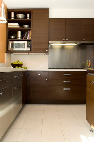 Contemporary Kitchen with L-shaped, Pendant light, European Cabinets, Commerce metals stainless steel backsplash, Flush