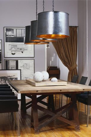 Eclectic Dining Room with Antiqued Metal Drum Pendant, VIG Furniture Modrest Delphi - Modern Eco-Leather Dining Chair