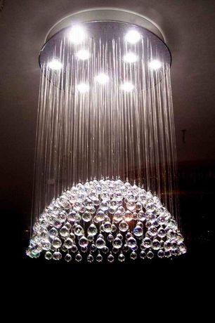 Art Deco Dining Room with Modern light fixture, Blown glass, Overstock.com: crystal empire 6-light chandelier