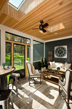 Contemporary Porch with Skylight, Glass panel door, Screened porch, Transom window