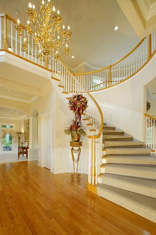 Traditional Staircase with Chair rail, Cathedral ceiling, Chandelier, can lights, curved staircase, Hardwood floors, Loft