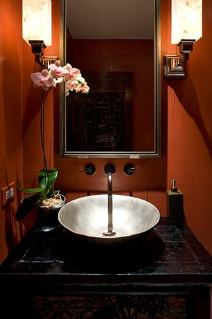 Asian Powder Room with specialty door, Powder room, Wood counters, Restoration Hardware - Framed Medicine Cabinet