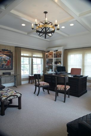 Traditional Home Office with Crown molding, High ceiling, Built-in bookshelf, can lights, Box ceiling, bedroom reading light