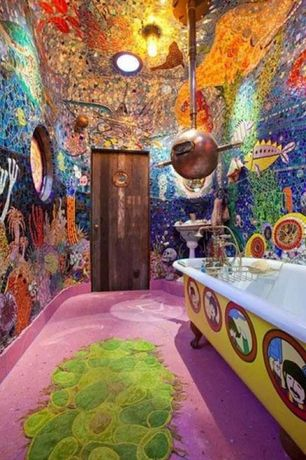 Eclectic Kids Bathroom with can lights, custom painted tub, Clawfoot, Pendant light, Stained glass window, Bathtub, Mural