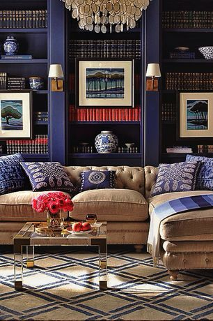 Eclectic Library with Built-in bookshelf, Charles Hollis Jones Lucite and Brass Side Table, Chandelier, Carpet, Wall sconce