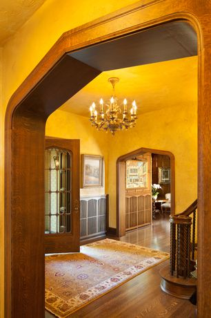 Traditional Entryway with Chandelier, Royale Sage/Ivory Area Rug by Wildon Home, French doors, Hardwood floors, High ceiling