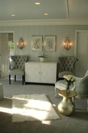Contemporary Master Bedroom with Wall sconce, Crown molding, interior wallpaper, Upton Home Fayette Double-Door Cabinet