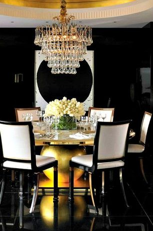 Art Deco Dining Room with Chandelier, Concrete floors