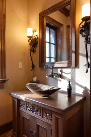 Eclectic Powder Room with Wood counters, Valencia iron wall sconce candle holder, Oil-rubbed bronze wall-mount kitchen faucet