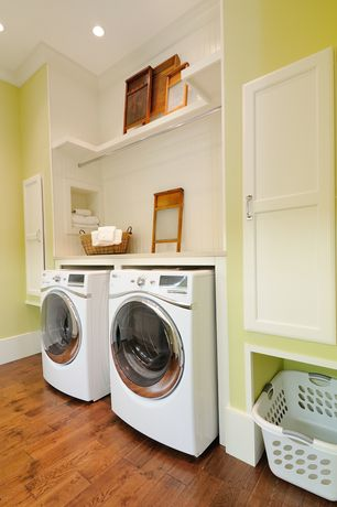 Cottage Laundry Room with Hardwood floors, High ceiling, Closet max heavy duty chrome closet pole, Crown molding