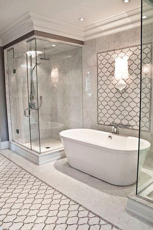 Transitional Master Bathroom with Freestanding, complex marble tile floors, American Standard Cadet Freestanding Tub