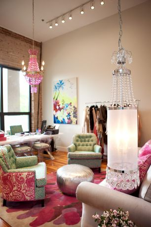 Eclectic Home Office with Ikram Design Metallic Moroccan Pouf Ottoman, flush light, Pendant light, interior brick