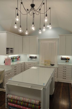 Transitional Home Office with Craft room, Edison Chandelier Ceiling Light 10 Lights bulbs Pendant Lamp Lighting Fixture