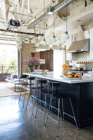 Contemporary Kitchen with Pendant light, Calacatta carrara, Flush, Exposed beam, Kitchen island, One-wall, Breakfast bar
