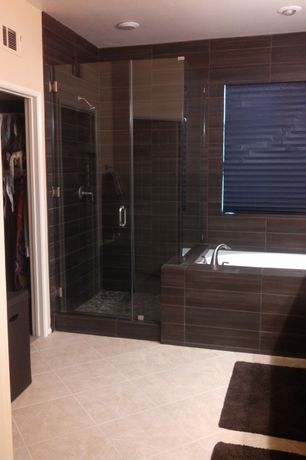 Contemporary Master Bathroom with frameless showerdoor, flush light, Simple marble counters, Flat panel cabinets