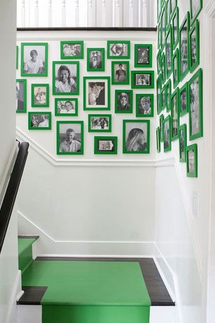 Eclectic Staircase with Wainscotting, Hardwood floors