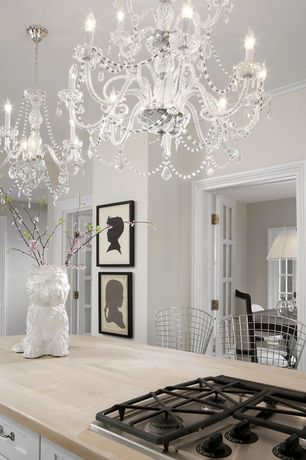 Traditional Kitchen with Flush, Venetian Style Crystal Chandelier, Crown molding, Chandelier, Modway Bar Stool, One-wall