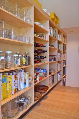 Contemporary Pantry with Custom built-in pantry, Laminate maple hardwood flooring, Standard height, Built-in bookshelf, Paint